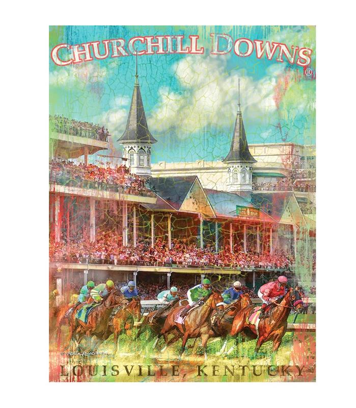 First Turn Churchill Downs Giclee Canvas,4361 GICLEE 18X