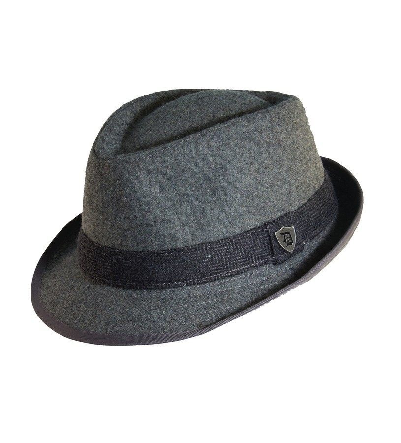 Men's Wool Blend Herringbone Fedora,MW141ASST