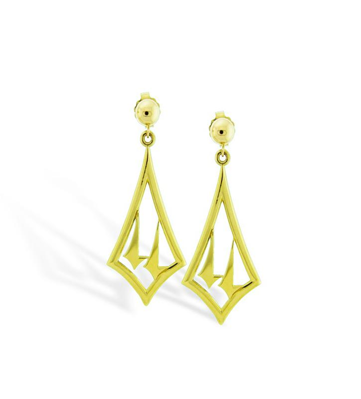 Churchill Downs Spires 14K Gold Earrings by Darren K. Moore,14-1113
