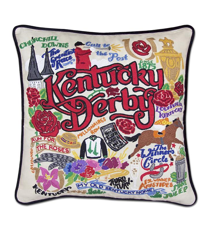 Catstudio Kentucky Derby Embroidered Pillow