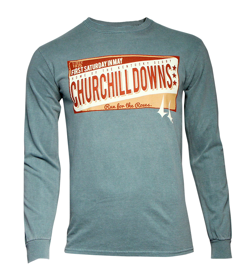 Churchill Downs Distressed Sign Long-sleeve Tee,3ZZ3_TACKLED OLR-FOR