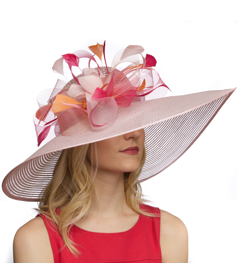 The Big Brim Loops and Horsehair Hat,KD66DERBY-PINK