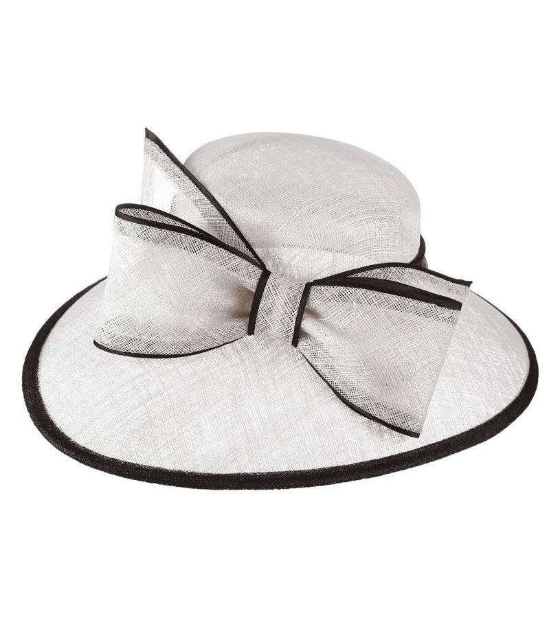 The Two-Tone Trimmed Bow Hat,KD73DERBY-WHT/BLK