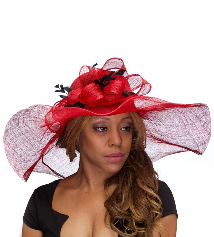 The Chevron Feather Floppy Brim Hat,KD63DERBY-POPPY