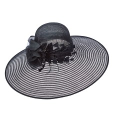 The Horsehair and Diamond Feather Hat,LD99-ASST BLACK