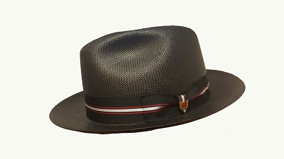 Men's Kentucky Derby Pinch Front Toyo Fedora,BS8847-BLK