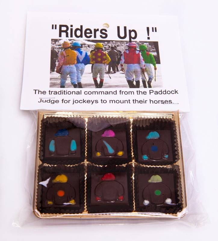 Riders Up! Jockey Silks Dark Chocolate Mint Squares-6pc,Chocolate & Mint