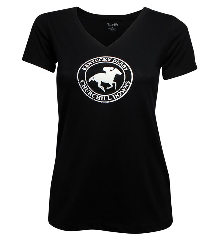 Ladies Circle Horse Bling Loose Fit Tee,LFVT BLACK