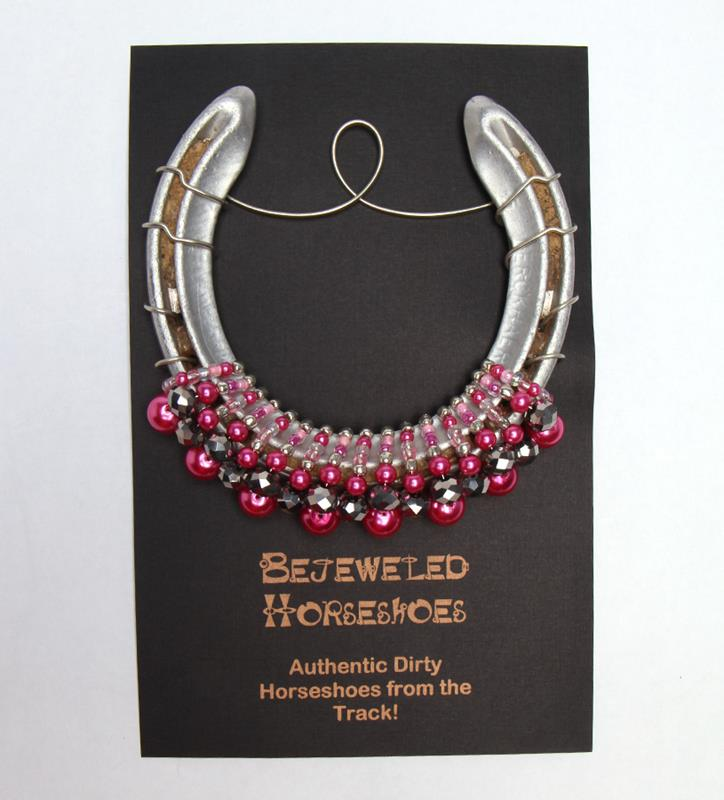 Ladies First Hot Pink Bejeweled Horseshoe,HOT PINK OAKS