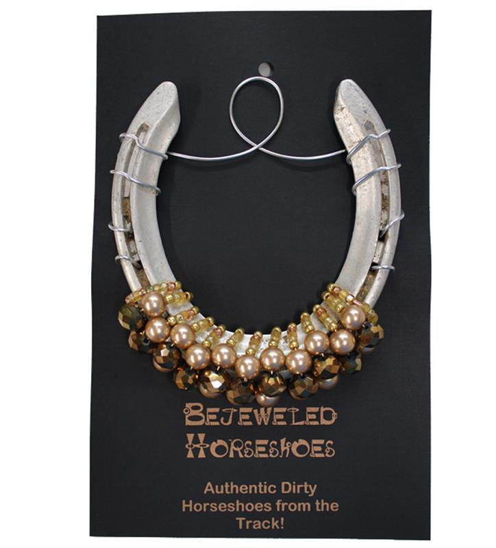 Golden Pearl Bejeweled Horseshoe,GOLD WITH PEARL