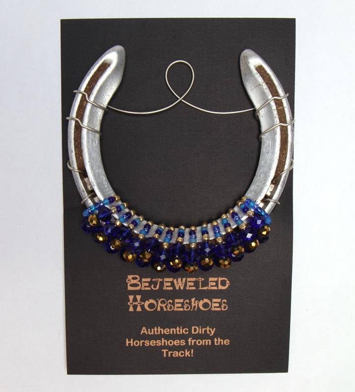 Blue and Gold Bejeweled Horseshoe,Bejeweld Horseshoes,BLUE GOLD HORSESH