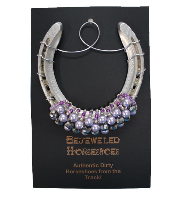 Lavender Pearl Bejeweled Horseshoe,Bejeweld Horseshoes,LAVENDER PEARL