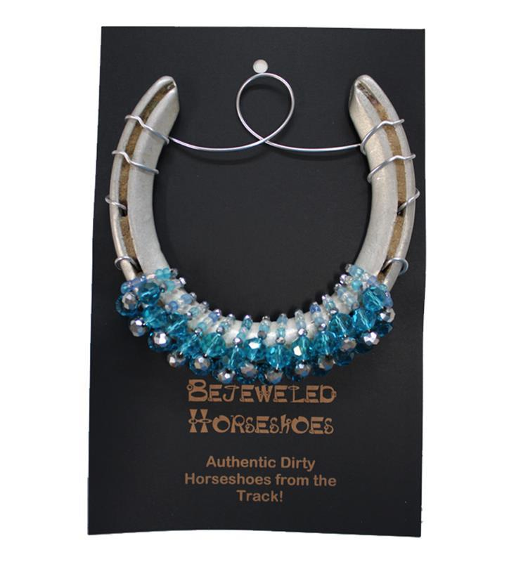Turquoise and Crystal Bejeweled Horseshoe,LIGHT TURQ CRYSTAL