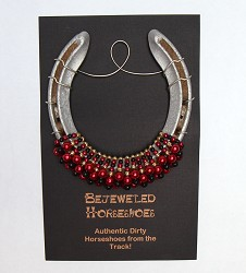 Louisville Red Bejeweled Horseshoe,U OF RED HS