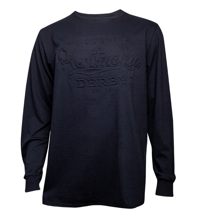 Embossed Kentucky Derby Long-Sleeved Crew Tee,BE27 BLACK