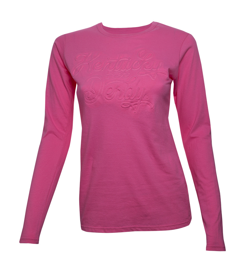 Women's Long-Sleeved Embossed Kentucky Derby Crew Tee,BE35 AZALEA