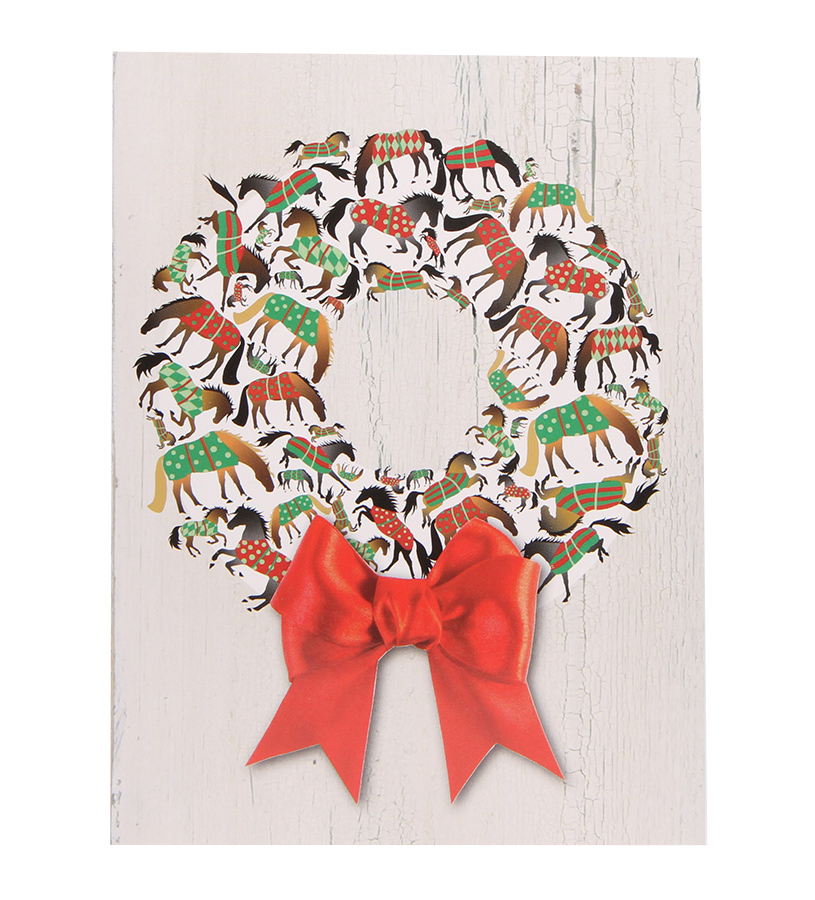 Blanket Horse Wreath Christmas Card Set,BX 18