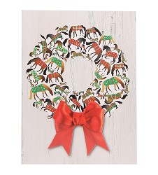 Blanket Horse Wreath Christmas Card Set