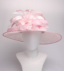 The Tonal Harlequin Feather Hat,LD95-ASST ROSE