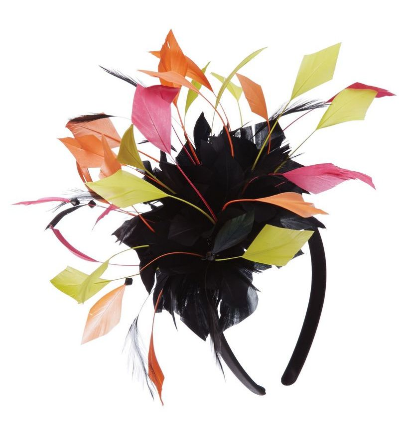 The Harlequin Feather Jewel Tone Fascinator,LDF59-ASST ORANGE