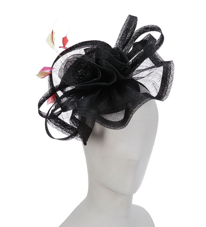 The Wavy Rosette Fascinator,LDF60-ASST BLACK