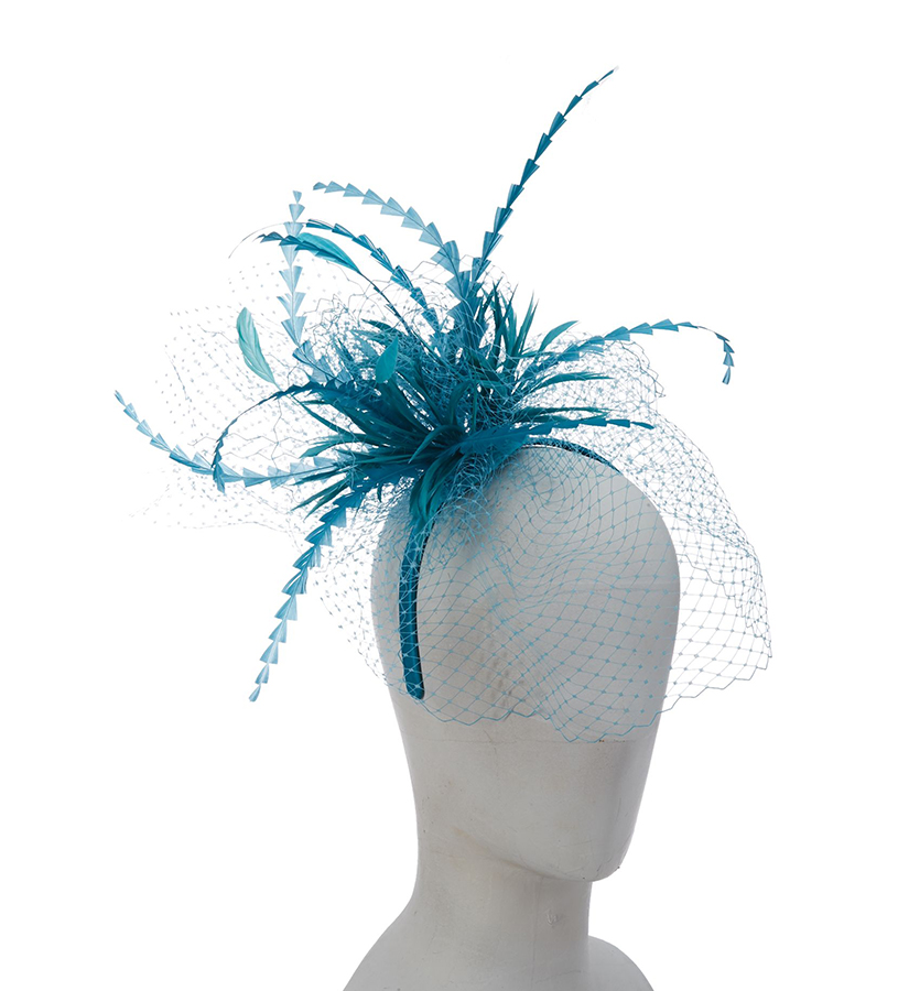The Netting Fascinator,LDF56-ASST TURQUOISE
