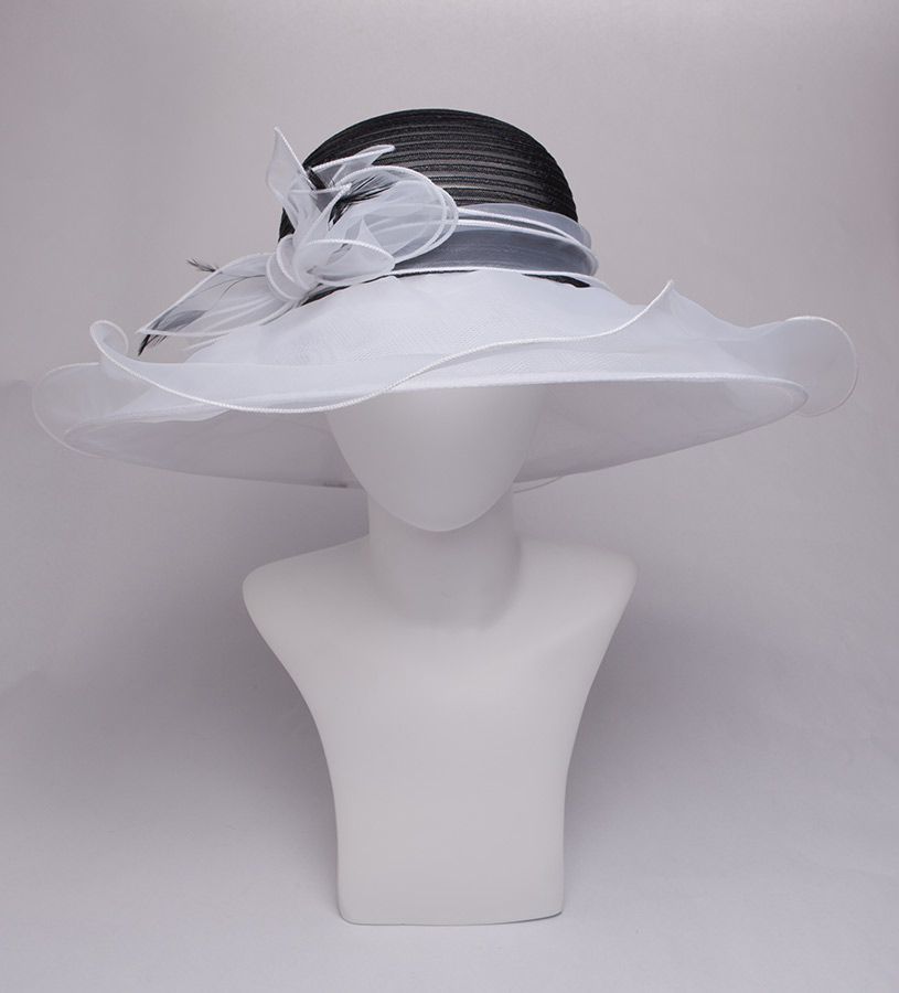 The Horsehair and Organza Trim Two-Tone Hat,KD92DERBY-BLK/WHT