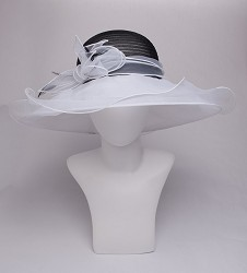 The Horsehair and Organza Trim Two-Tone Hat