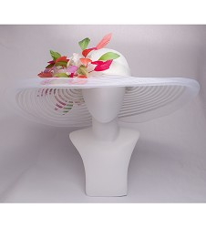 The Harlequin Feather Horsehair Hat,KD93DERBY-WHITE