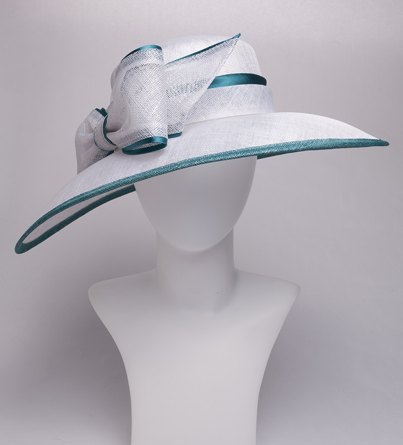 The Two-Tone Trimmed Bow Hat,KD73DERBY-EMERALD