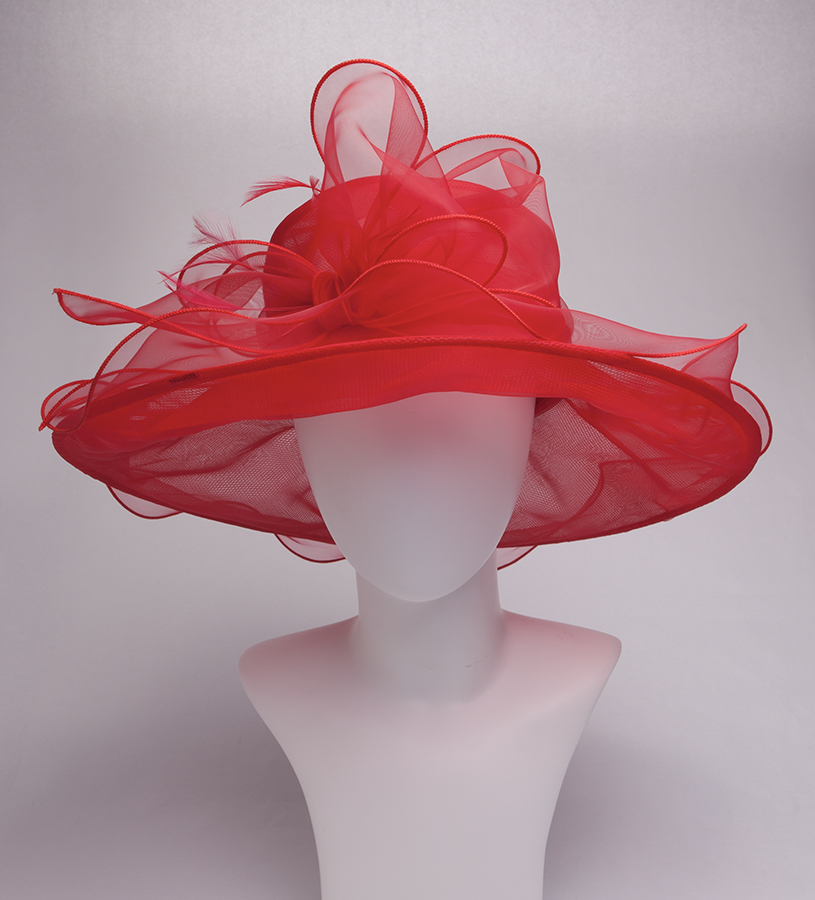 The Big Brim Bow Organza Hat,KD101DERBY-RED