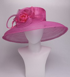 The Curved Brim Horsehair Hat,KD115DERBY-HOT PINK