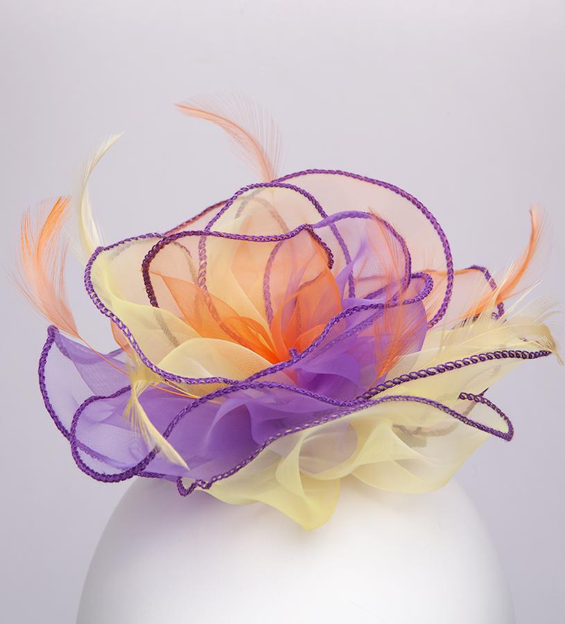 The Organza Rose Fascinator Clip,KD107DERBYF-MULTI