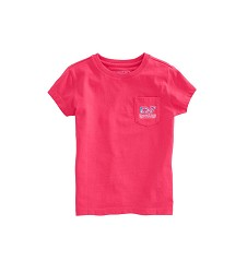 Vineyard Vines 2018 Girls' Rose Whale Pocket Tee