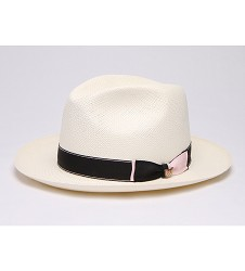 """""""Touch of Pink"""" Straw Fedora,BS 5947TOP-BLEACH"""
