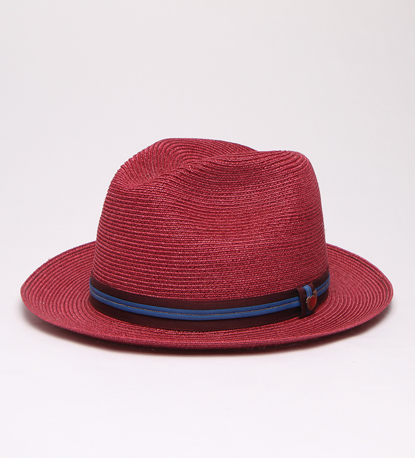 """Colorful Story"" Straw Fedora,BS 5747CLS-WINE"