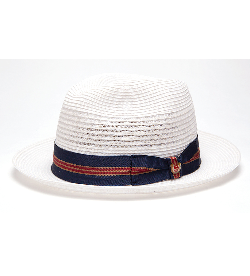 """Nautical and Preppy"" Vented Straw Fedora,BS 2547NNP-WHITE"
