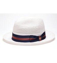 """""""Nautical and Preppy"""" Vented Straw Fedora,BS 2547NNP-WHITE"""