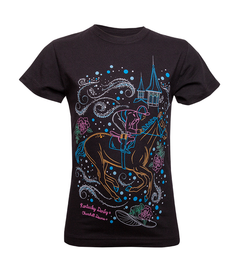 Kentucky Derby Bedazzled Horse Youth Tee,9228 2018 BEDAZZLED