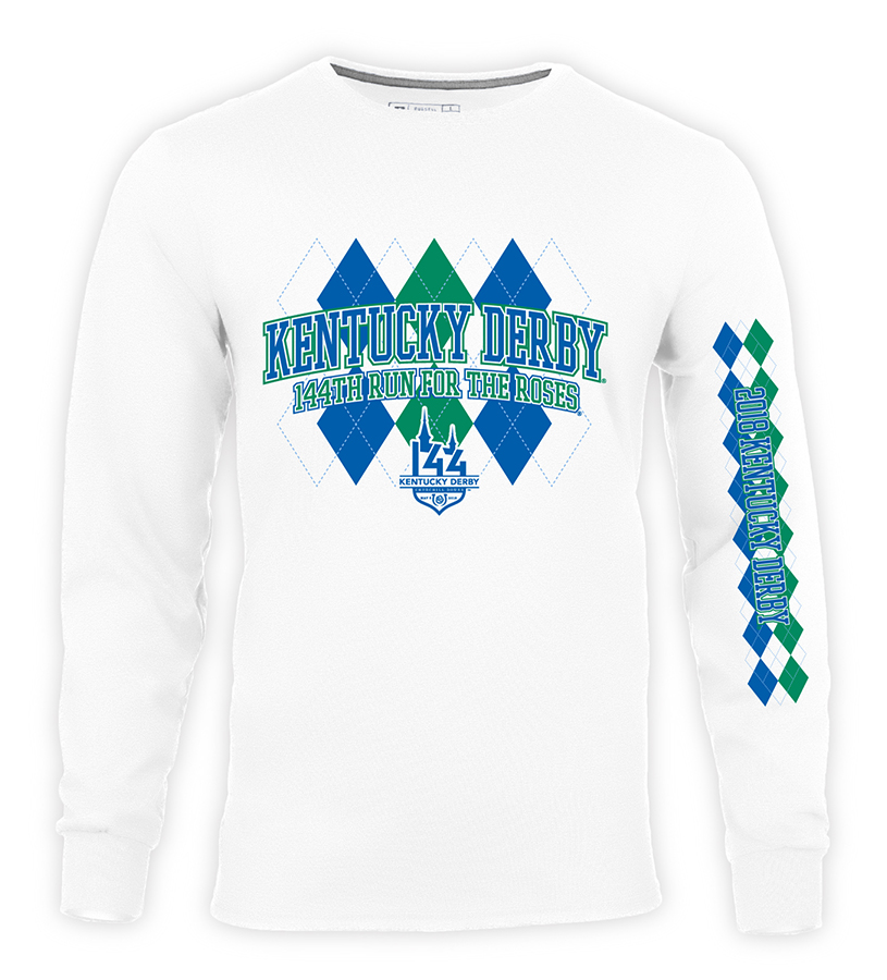 Kentucky Derby 144 Long-Sleeved Argyle Tee,64LTTMO PJ88 KYD P03