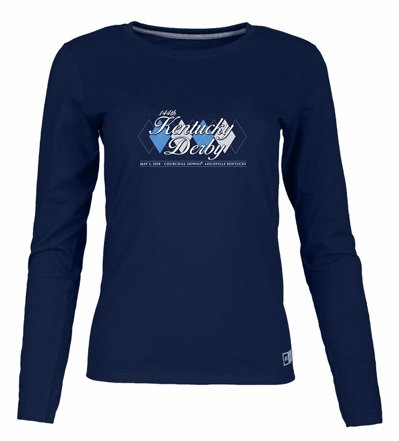 Kentucky Derby 144 Ladies' Long-Sleeved Argyle Tee,64LTTXO PJ92 P02