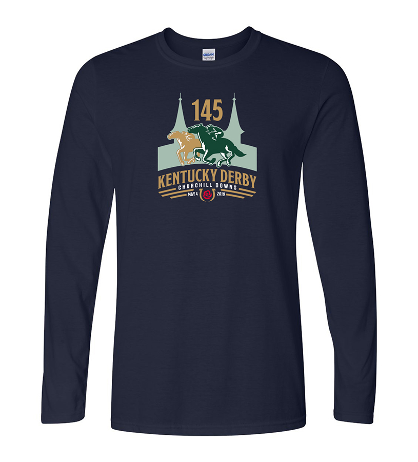 Kentucky Derby 145 Long-Sleeved Logo Tee,KD145-64400 NAVY