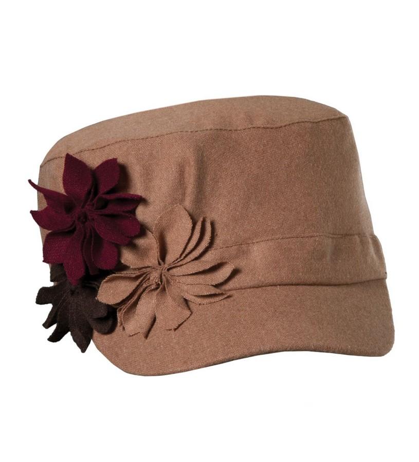 Ladies' Felt Flower Cadet Cap,LW547-ASST