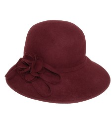 Ladies' Wide Brim Rosette Cloche
