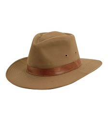 Men's Faux Leather Band Outback Hat,MC68-BARK