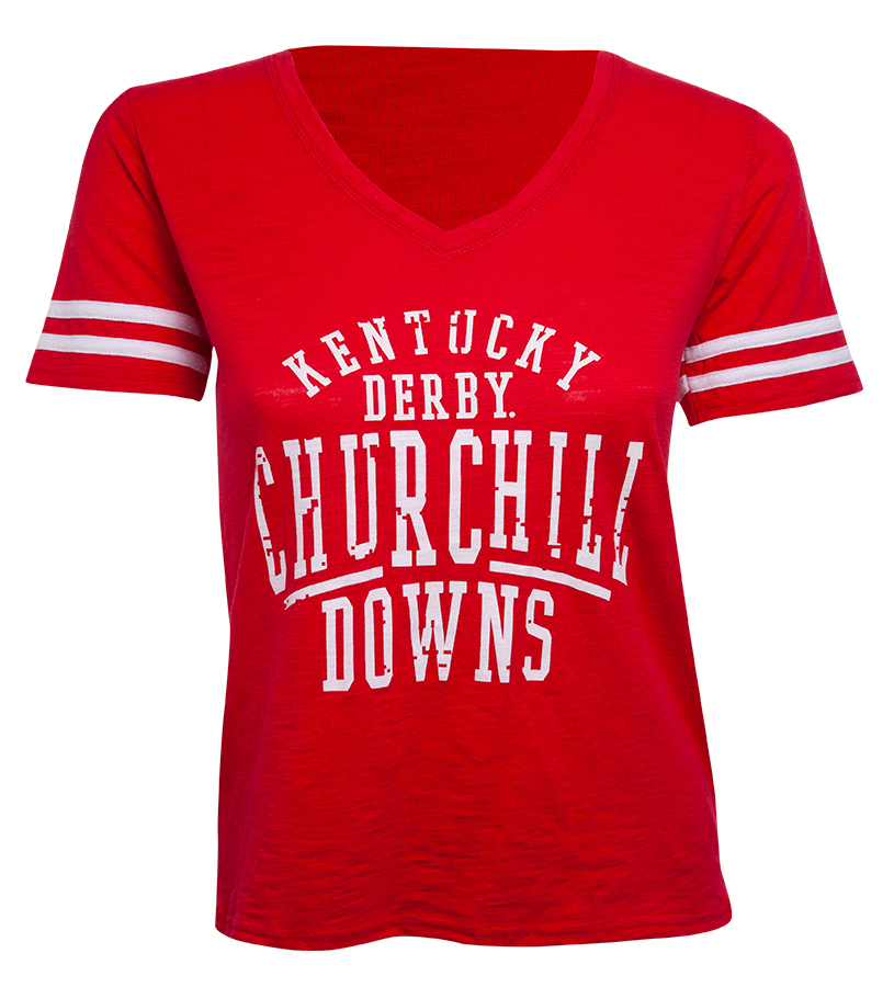 Churchill Downs Logo Sporty Slub Tee,T62RED-F17002