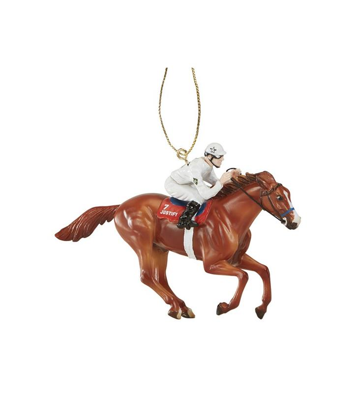 Pre-Order: Justify White Triple Crown Silks Ornament,9303 ORN WHITE