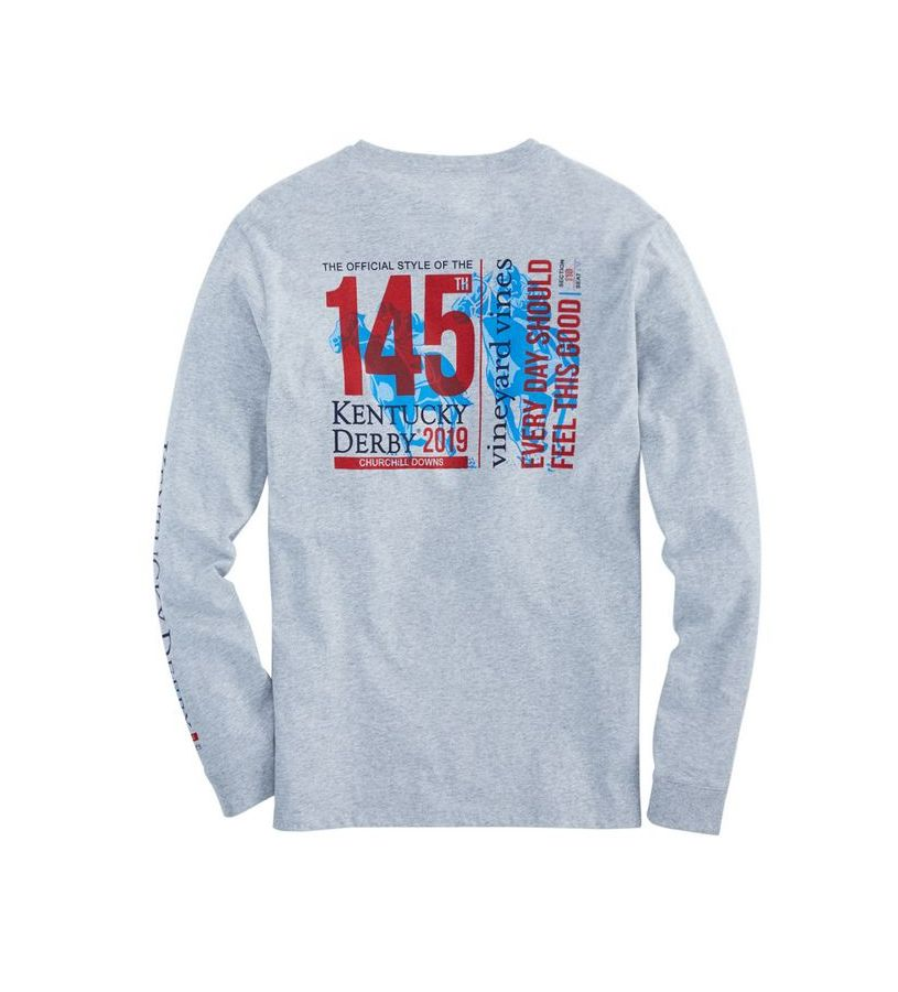 Kentucky Derby 2019 Long-Sleeved Ticket Tee,Kentucky Derby 145-2019 Vineyard Vines Collection,1V000085 GRAY HEATHE