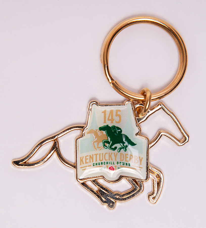 Kentucky Derby 145 Wire Horse Key Ring,9KWHK GOLD METAL