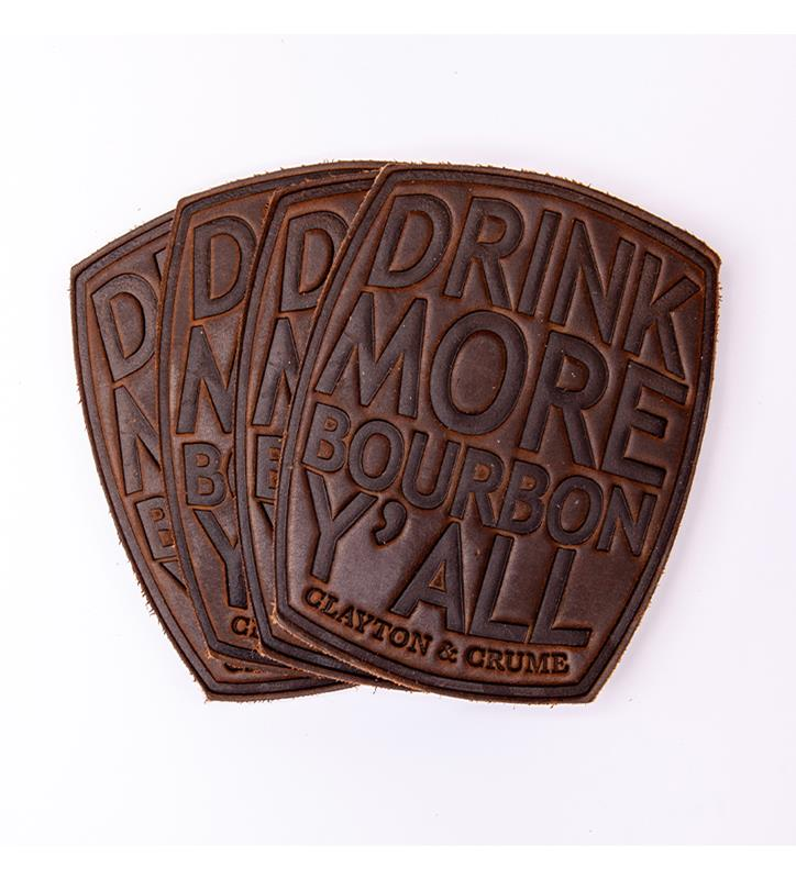 "4 Pack Leather ""Drink More Bourbon Ya'll"" Coasters"